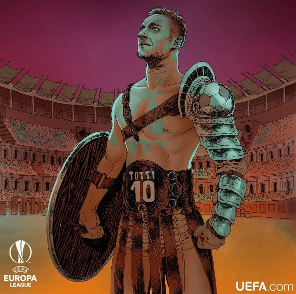 La Uefa celebra Totti e lo veste dagladiatore