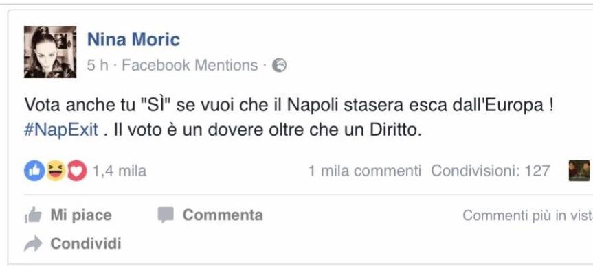 """La Moric come Salvini: """"#Napexit"""". Clementino: """"#zompapereta"""""""