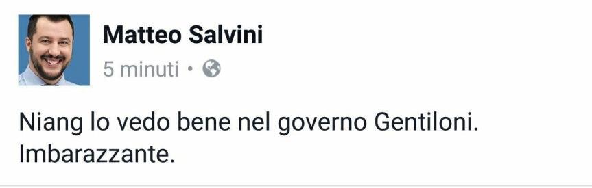 """Salvini su Facebook: """"Niang imbarazzante come il governo Gentiloni"""""""