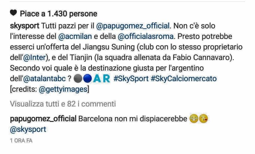 """Papu Gomez inventa la sua trattativa su Instagram: """"Voglio ilBarça"""""""
