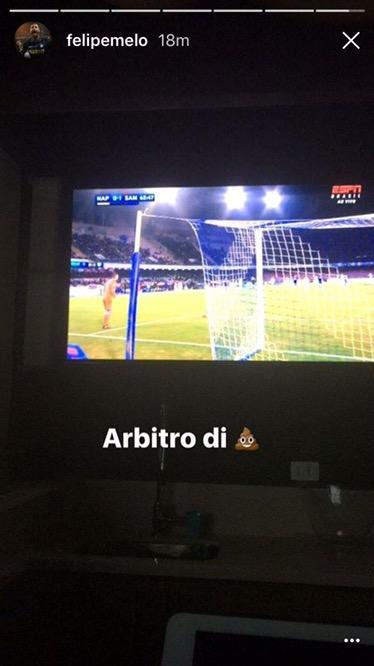 """Felipe Melo guarda il Napoli e scrive su Instagram: """"Arbitro dim…"""""""
