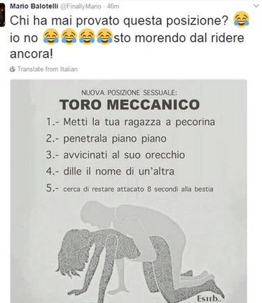 Balotelli, caduta di stile social: poi rimuove iltweet
