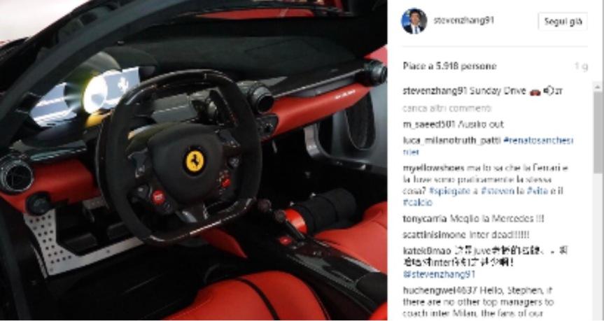 Zhang va in Ferrari e gli interisti lo attaccano suisocial